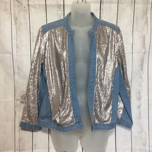 Chicos Jacket Gold Sequin Blue Denim 1 M 8